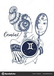 Znamení Zvěrokruhu Blíženci Krásnou Dívku Horoskop Astrologie Vektor
