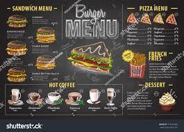 Design Fast Food Menu Vintage Chalk Drawing Burger Menu Design Stock Vector