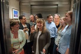 people talking in elevator. here \u0026 now and wbur staffers crowd into the elevator with host robin young \u2026 is that robert krulwich in back? (doug shugarts emma-jean people talking