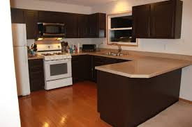 sophisticated dark brown kitchen paint colors for cabinets also concrete countertops as well as white wall painted also fake wood floor ideas