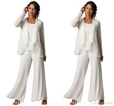 ivory elegant chiffon plus size tiered ruffled pant suit set  ivory elegant chiffon plus size 3 piece tiered ruffled pant suit set 2016 new fashion