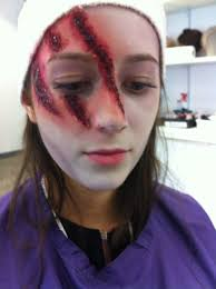 i created these cuts by using liquid latex and tissue paper i then used cream make up to give colour and using black to give depth to the wound
