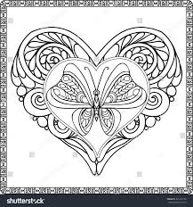 Butterfly Along With Heart Coloring Pages Printable Coloring Page