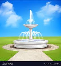 fountain in garden vintage composition vector image