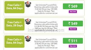 Vodafone Rs 511 Rs 569 Recharge Packs Offer 84 Days