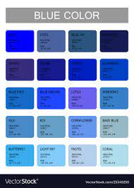 Blue color codes and names selection colors Vector Image