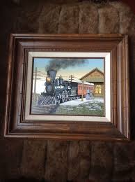 h hargrove serigraph print on canvas train evanston station 8x10 painting framed
