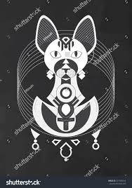 Geometric Illustration Stylized Sphynx Cat Ancient Stock Vector