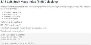 Bmi Categories Solved 3 13 Lab Body Mass Index Bmi Calculator Write A