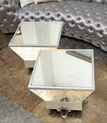 Mirrored Trunk Coffee Table Pair Of Square Modern Mirrored Coffee Table With Silver Metal Base