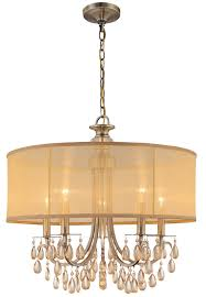 hampton 5 light 24 antique brass crystal chandelier with gold drum from kitchen chandeliers