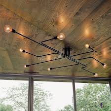 industrial ceiling lights with regard to edison bulb wrought iron 8 light large semi flush designs