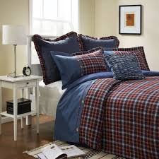 3 piece blue and red grid denim cotton and flannel duvet cover set