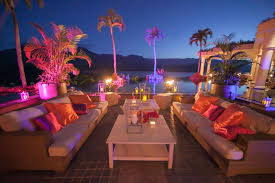 tropical outdoor lighting. Outdoor Lounge Area With Vibrant Lights And Pillows Tropical Lighting