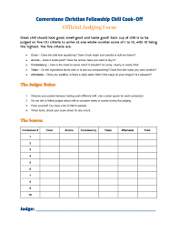 chili cook off judging sheet annual chili cook off cornerstone christian fellowship