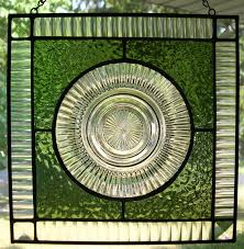 stained glass panel with queen mary depression glass plate