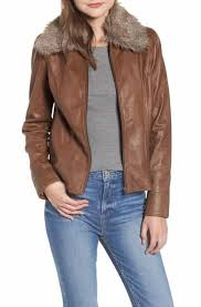save on hinge faux fur collar leather jacket
