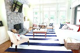new blue striped outdoor rug and white pottery barn navy