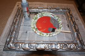 diy painted mirror frame. Then Brushed White Paint But Let Some Silver Peek Diy Painted Mirror Frame