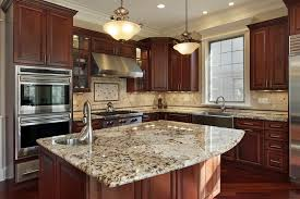 Lovely Kitchen With Mahogany Cabinets And St. Cecilia Granite Island In New Home  Design Pictures Gallery