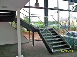 architectural staircase with glass barade
