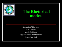 rhetorical modes the rhetorical modes academic writing unit ew 3 classes ms a rodriguez high school