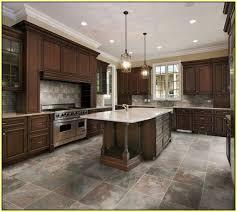 Porcelain Kitchen Floor Tile Kitchen With Brown Cabinets And Glazed Porcelain Tiles Porcelain