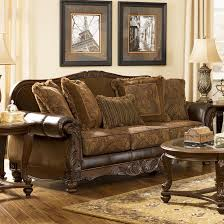 Living Room Antique Furniture Fresco Durablend Antique Traditional Stationary Sofa With Rolled