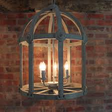 wood birdcage chandelier