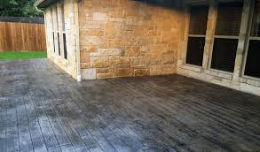 gray wood stamped concrete patio
