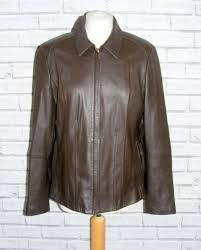 marks and spencer leather jacket plus size 18 fitted zip dark brown soft feel