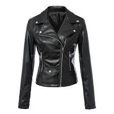 women plus size black faux pu leather motorcycle jackets y long sleeve coats casaco feminine european streetwear tops ct1088 jean jackets women leather