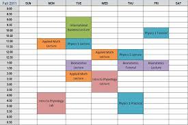 College Class Schedule Template College Class Schedule