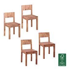 Finebuy Esszimmerstühle 2er Set Massiv Holz Design Küchen Stühle 40 X 40 Cm Holzstühle Modern Braun Landhaus Stil Dekorfrontsheesham