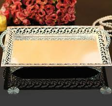Decorative Metal Serving Trays rectangle silvergold plated alloy metal serving tray fruit dish 13
