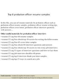 Top 8 Probation Officer Resume Samples