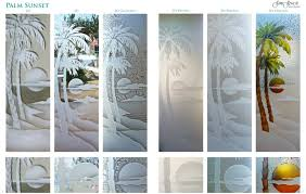 exterior glass doors frosted glass palms palm sunset design specialty