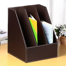 bailianchen triple file holder office supplies file basket leather file box folder holder file folder file storage coffee color three row file holder