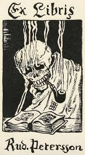unidentified artist smoking skull ex libris for rudoph peterson woodcut