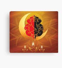lord ganesha sitting on the moon canvas print on ganesh canvas wall art with ganesh canvas prints redbubble