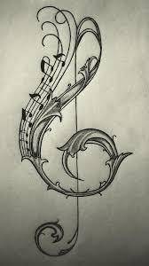 Violin Key Drawingsketch Tetovani Hudební Noty Houslový Klíč A