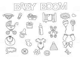 Babyboom Elementen Hand Getekende Set Kleurplaat Boek Sjabloon