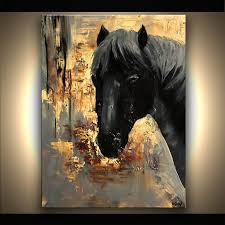 original abstract black horse painting on canvas panel palette knife by osnat t