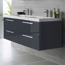hudson reed quartet wall mounted bathroom vanity unit 1440mm wide high gloss grey 2 tap hole