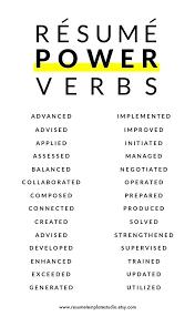 Resume Verbs Custom Power Resume Verbs Businessdegreeonlineco