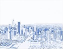 Architecture blueprints skyscraper Line Drawing Architectural Blueprint Font Poster Featuring The Painting Blueprint Drawing Of Aerial View Of Chicago Illinois Fine Art America Blueprint Drawing Of Aerial View Of Chicago Illinois The Black