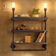bookshelf lighting. vintage industrial water pipe iron led wall lamp wooden bookshelf lighting decoration office cafe store