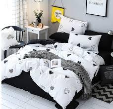 black white heart bedding set kawaii