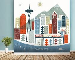 colourful seattle wall mural wallpaper on wall art seattle wa with seattle wall art yasaman ramezani