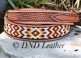 custom beaded ranger belt with basket stamping and beautiful aztec beading